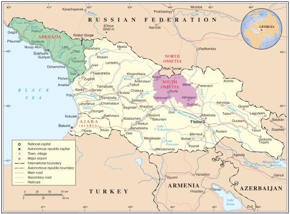 Carte de la frontière entre la Géorgie et l'Ossétie du Sud